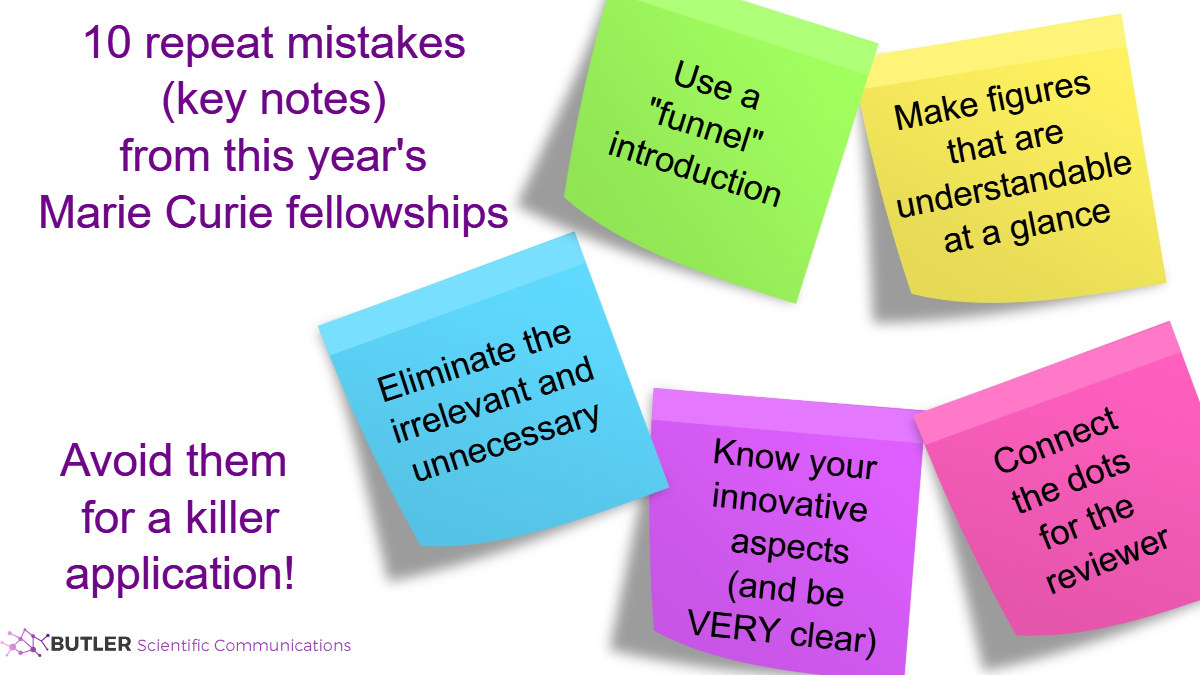 Sticky notes highlighting key mistakes in Marie Curie applications